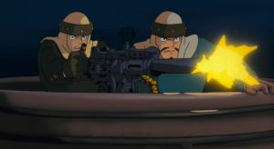 映画『風の谷のナウシカ』で王蟲の子ども運ぶペジテの船が機関銃でナウシカを撃つシーン
