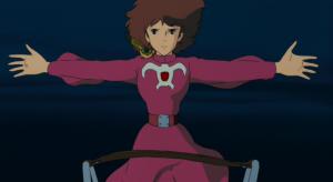 映画『風の谷のナウシカ』でナウシカが両腕を広げてペジテの船に乗り込もうとするシーン